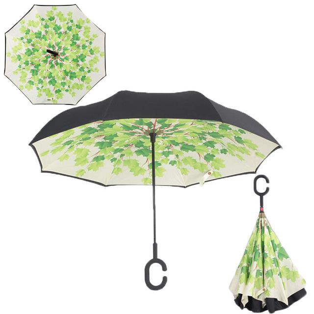 C nyakú falevél mintás esernyő