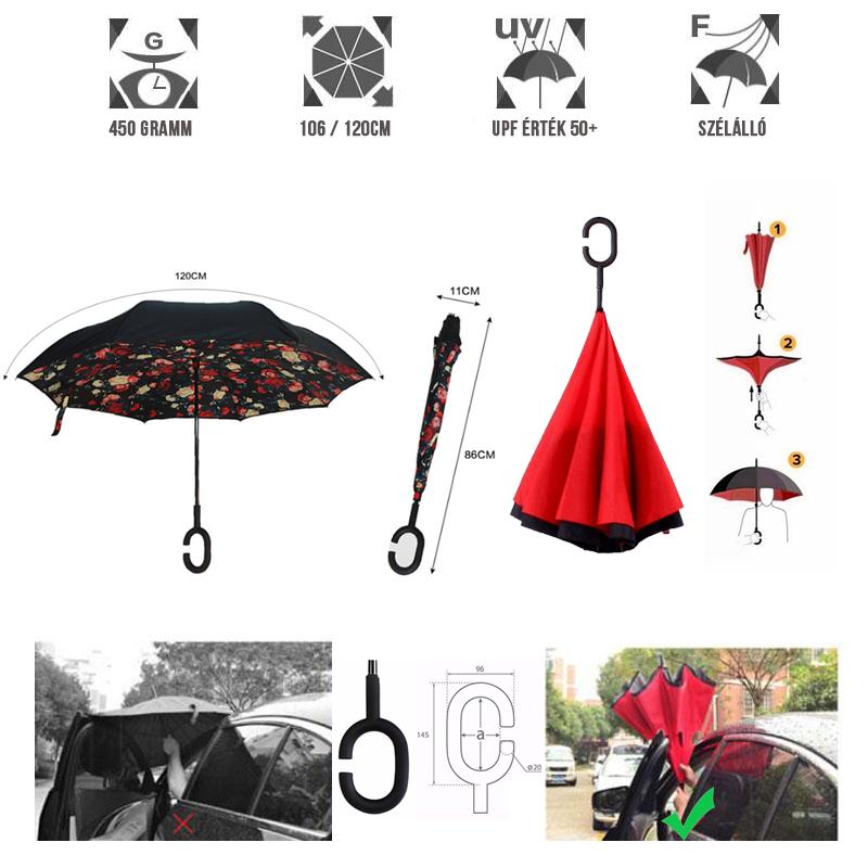 C nyakú fekete virág mintás esernyő