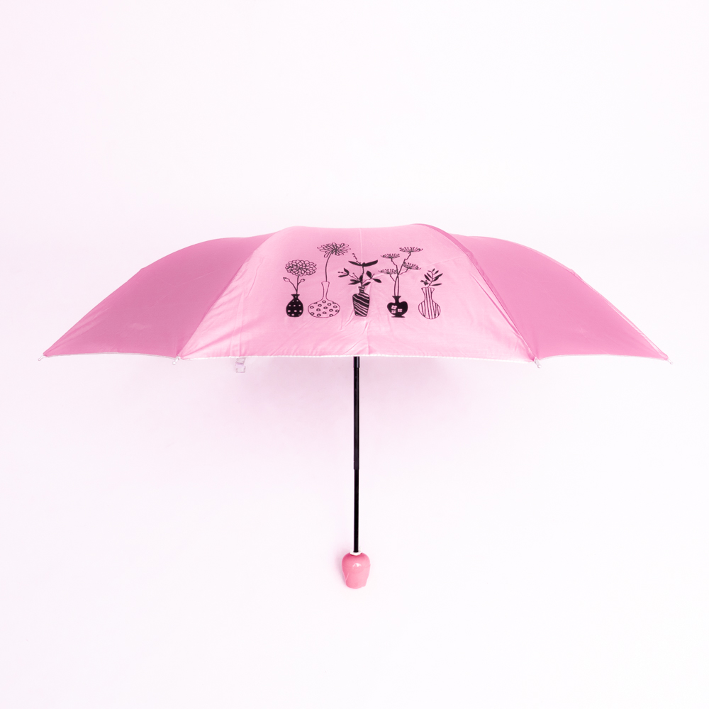 Rózsa alakú női esernyő váza kialakítású tokban rózsaszín