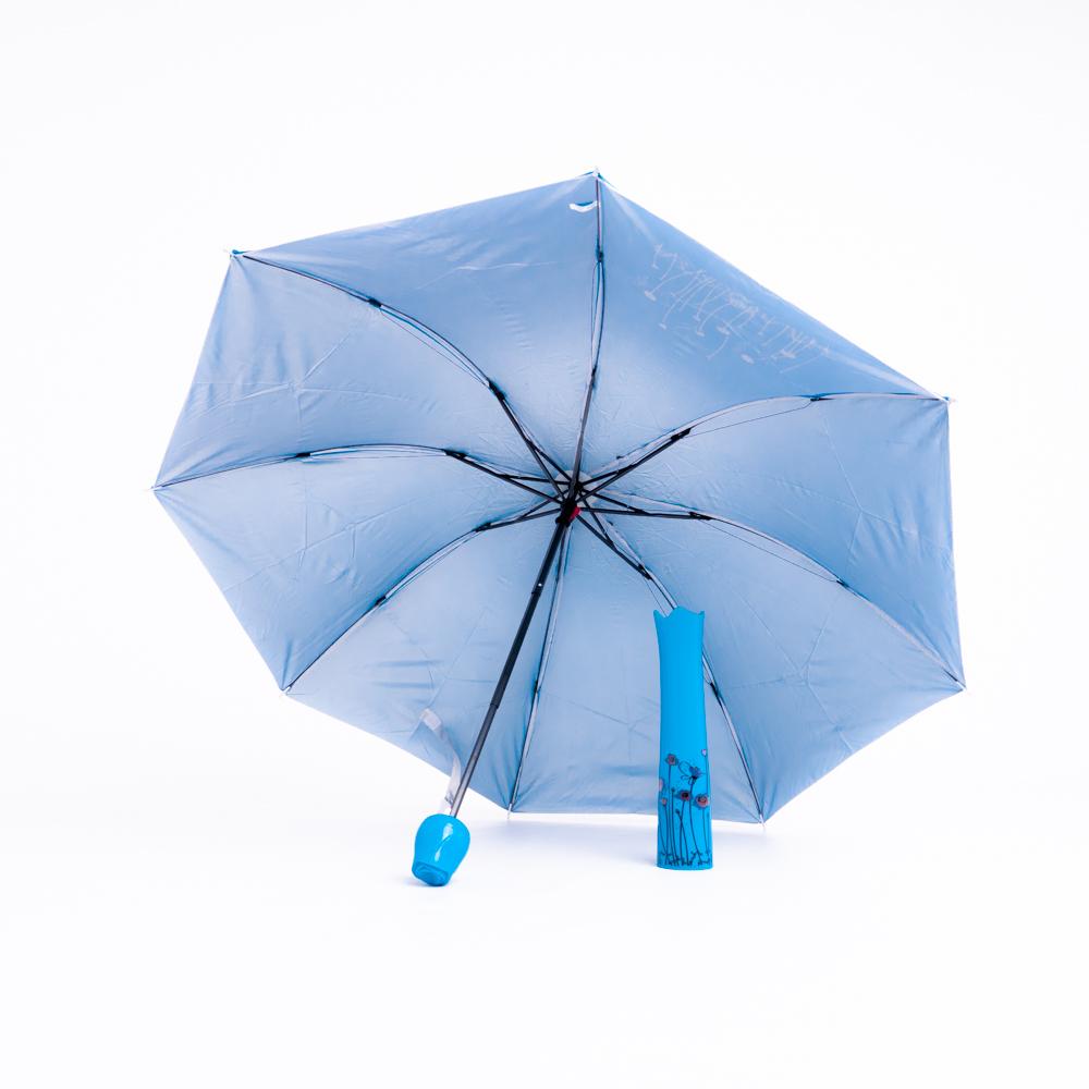 Rózsa alakú női esernyő váza kialakítású tokban kék színben