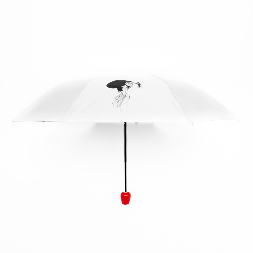 Rózsa alakú női esernyő váza kialakítású tokban piros/fehér színben