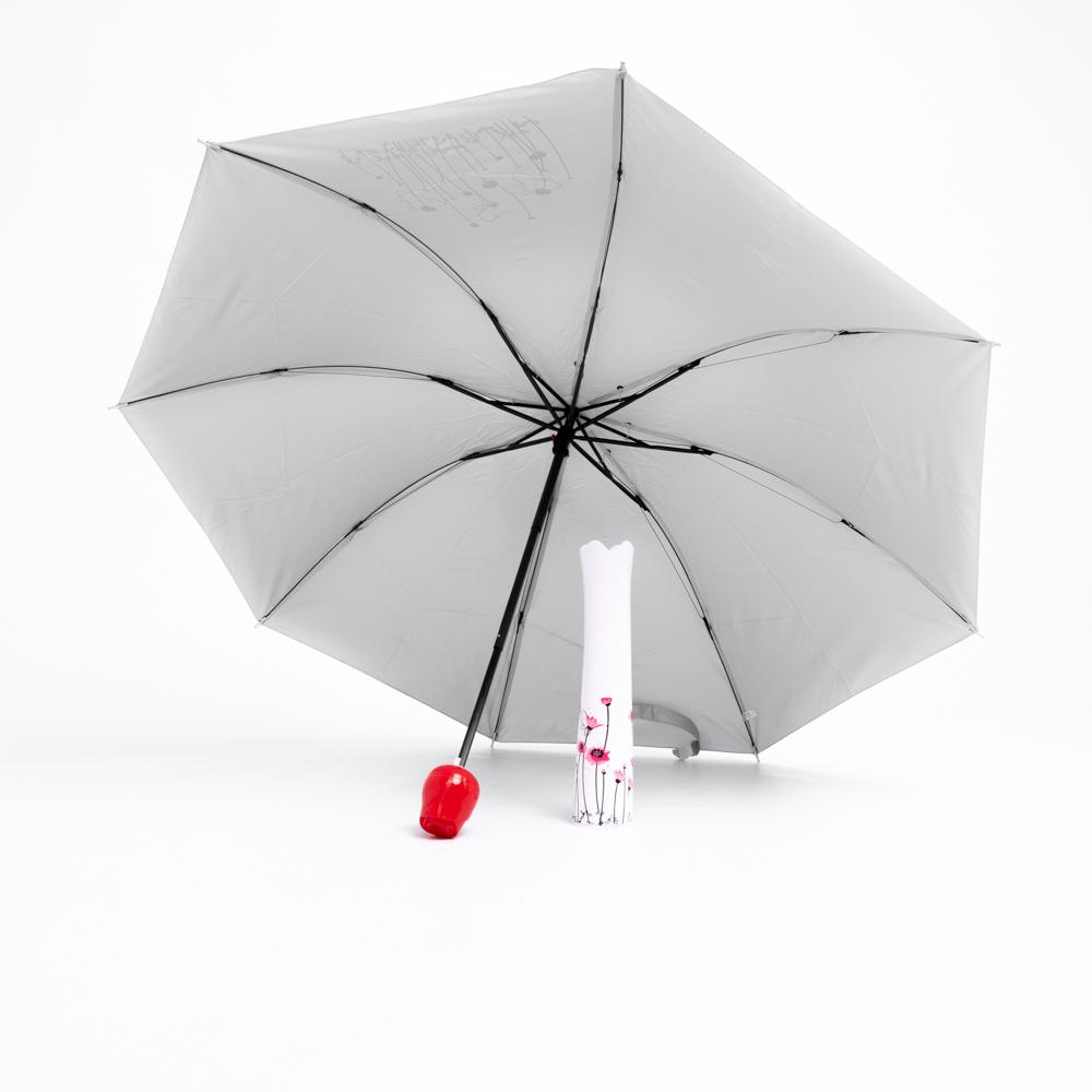Rózsa alakú női esernyő váza kialakítású tokban piros/szürke színben