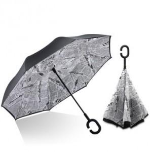 C nyakú fehér újságpapír mintás esernyő