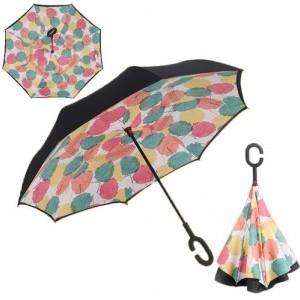 C nyakú színes falevél mintás esernyő