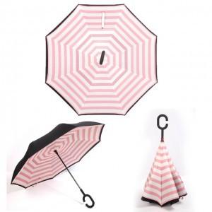 C nyakú rózsaszín-fehér esernyő