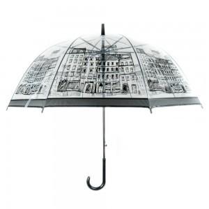 Áttetsző esernyő város mintával